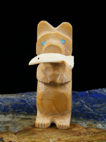 Jasper Bear With Fish Zuni Fetish