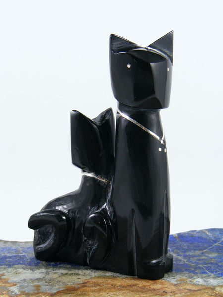 Black Marble Double Cat Zuni Fetish
