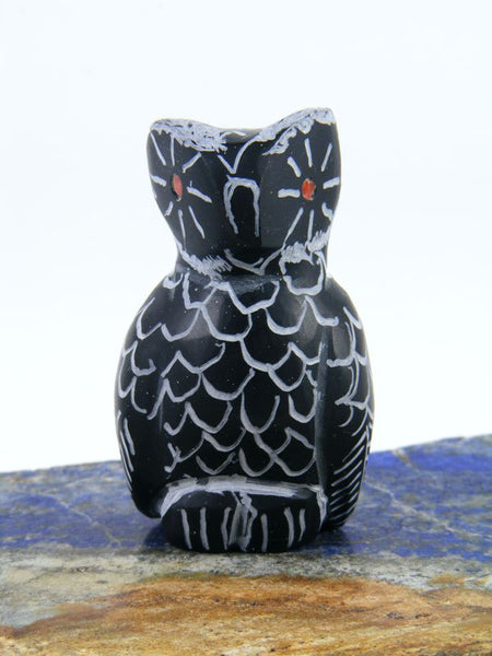 Black Marble Owl Zuni Fetish