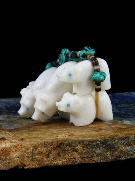 White Marble Bear Family Bundle Zuni Fetish
