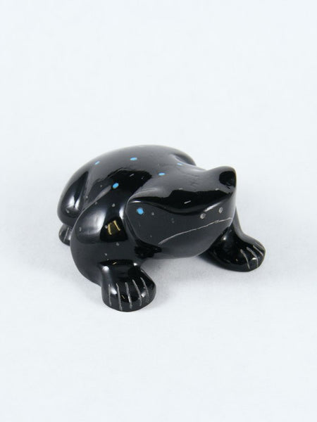 Black Marble Frog Zuni Fetish