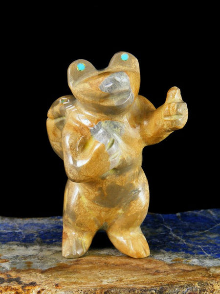 """Traveler"" Travertine Frog Zuni Fetish Carving"