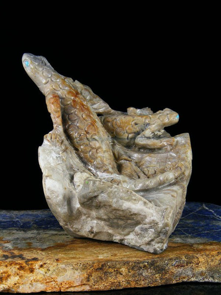 Picasso Marble Lizard Family on Rock Zuni Fetish
