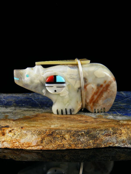 Picasso Marble Sunface Bear Zuni Fetish