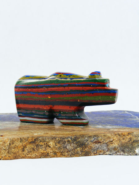Rainbow Calsilica Bear Zuni Fetish