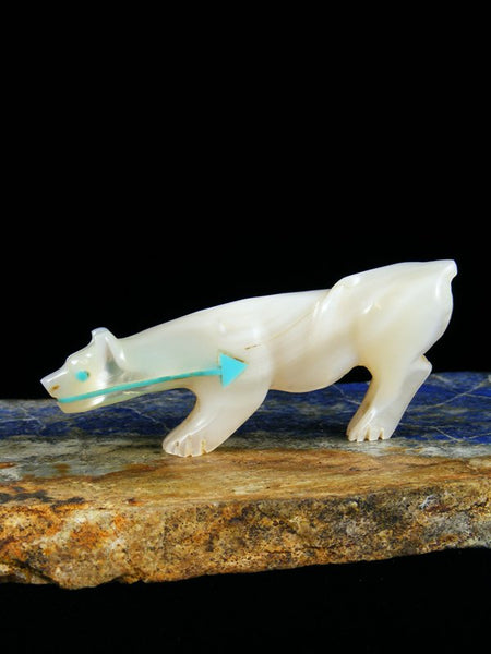 Mother of Pearl Mountain Lion Zuni Fetish
