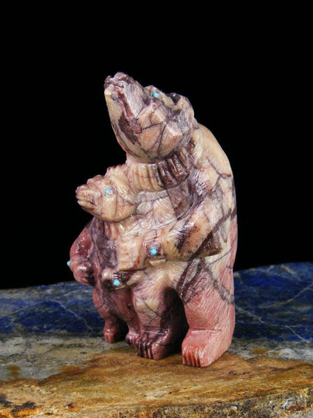 Marble Father and Son Bear Zuni Fetish Carving