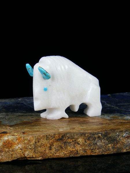 White Marble Buffalo Zuni Fetish