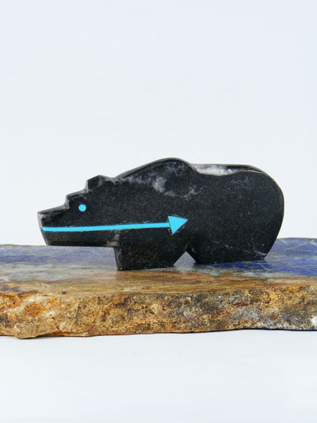 Fossilized Orthoceras Bear Zuni Fetish