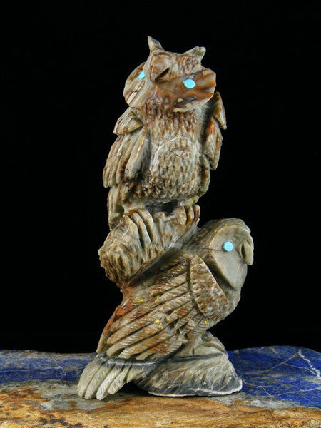 Picasso Marble Owl Family Zuni Fetish