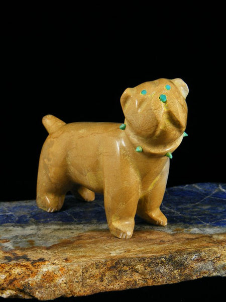 Travertine Dog Zuni Fetish Carving