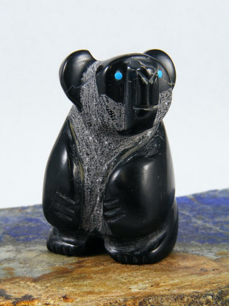 Black Marble Panda Bear Zuni Fetish
