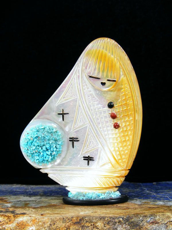 Mother of Pearl Maiden Zuni Fetish by Stuart Quandelacy - PuebloDirect.com - 1