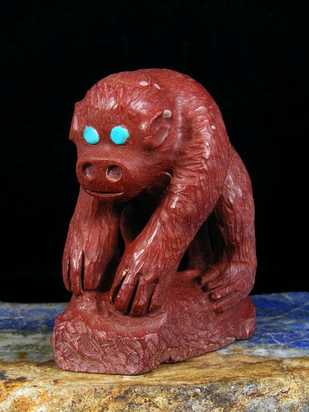 Pipestone Monkey Zuni Fetish by Derrick Kamasee - PuebloDirect.com - 1