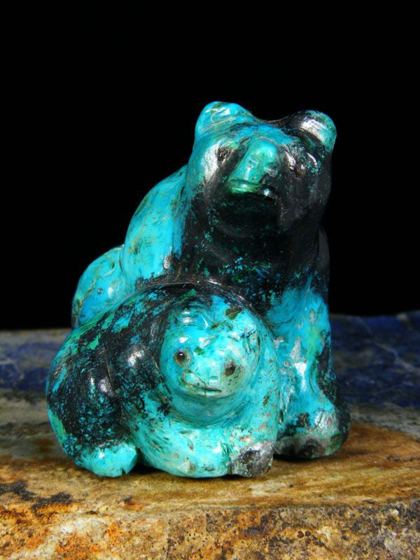 Chrysocolla Bear Zuni Fetish by Fred Bowannie - PuebloDirect.com - 1