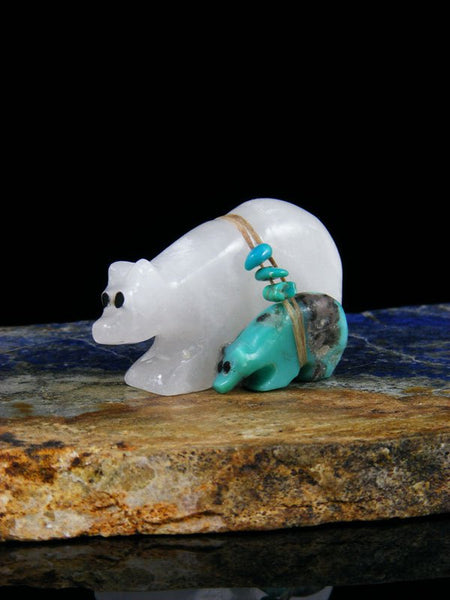 Selenite Bear Family Zuni Fetish