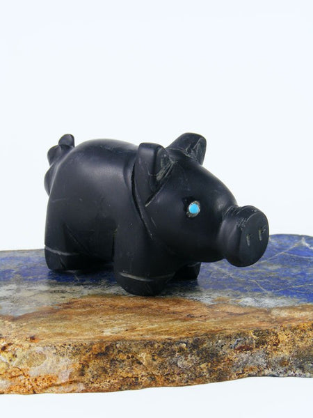 Black Marble Pig Zuni Fetish