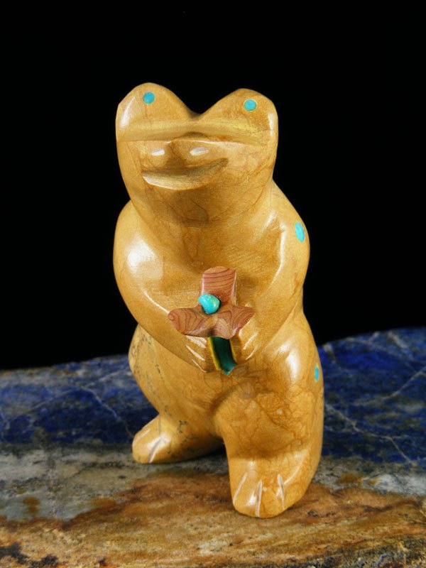 """Be Mine"" Travertine Frog Zuni Fetish Carving"