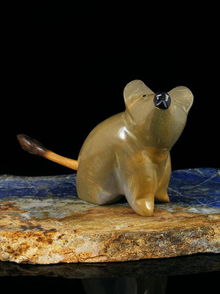 Travertine Mouse Zuni Fetish Carving