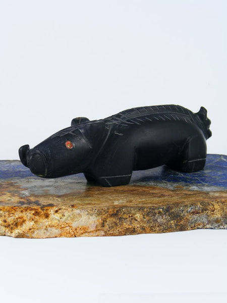 Black Marble Boar Zuni Fetish