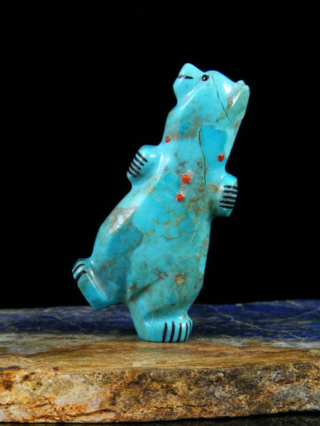 Turquoise Dancing Bear Zuni Fetish