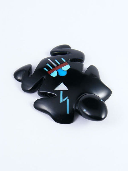 Jet Inlay Frog Zuni Fetish
