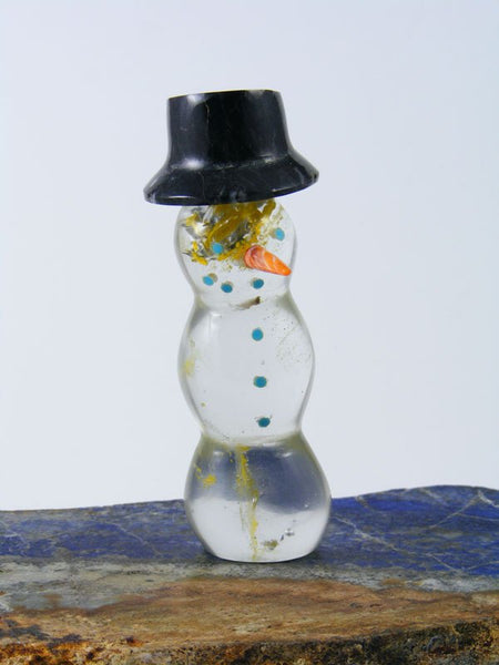 Glass Snowman Zuni Fetish