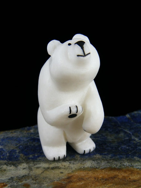 Wave Hello White Marble Bear Zuni Fetish