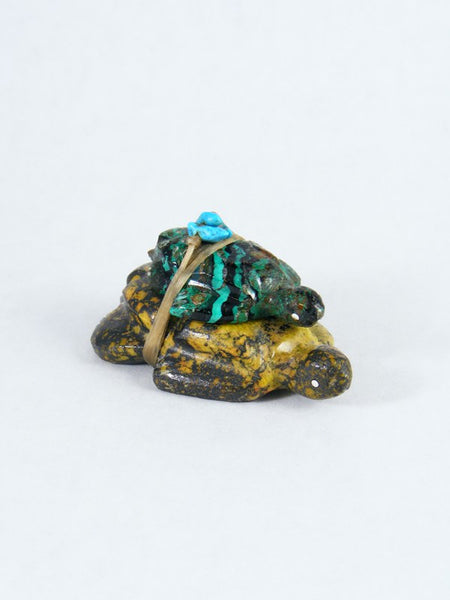 Chrysocolla Double Turtle Zuni Fetish