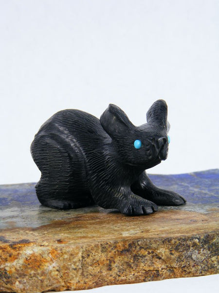 Black Marble Rabbit Zuni Fetish