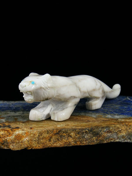 White Marble Tiger Zuni Fetish