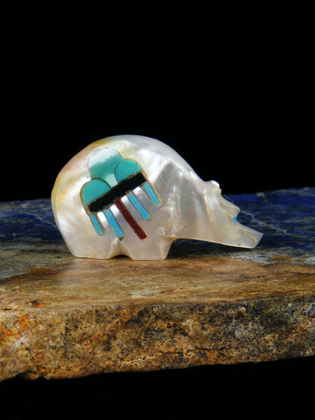 Mother of Pearl Inlay Bear Zuni Fetish