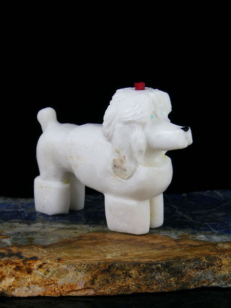 White Marble Dog Zuni Fetish