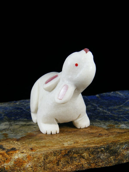 White Marble Rabbit Zuni Fetish