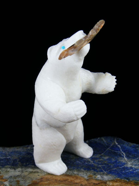 White Marble Bear Zuni Fetish