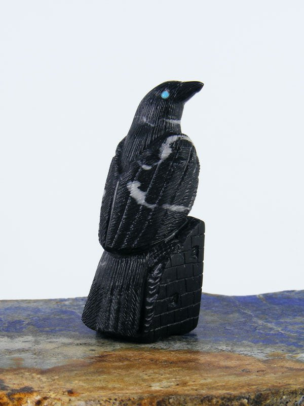 Black Marble Bird Zuni Fetish