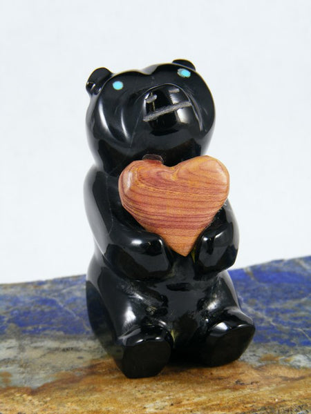 Black Marble Bear Zuni Fetish Carving