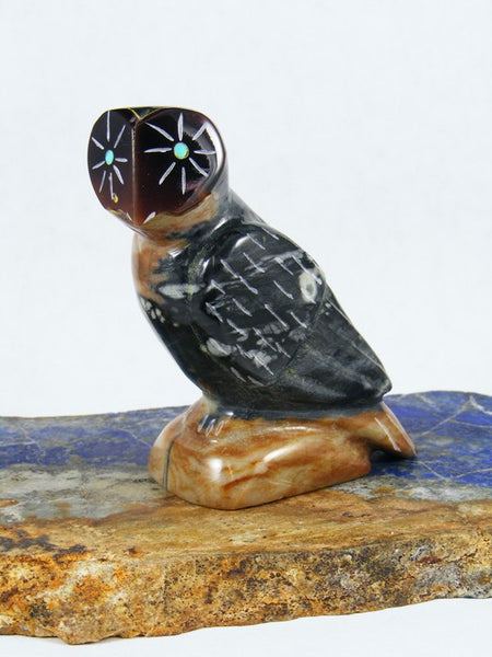 Picasso Marble Owl Zuni Fetish Carving