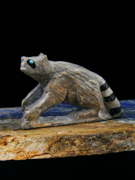 Picasso Marble Raccoon Zuni Fetish