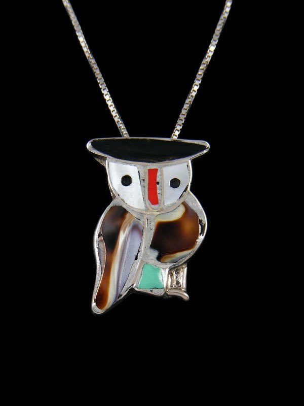 Native American Zuni Inlay Owl Pendant