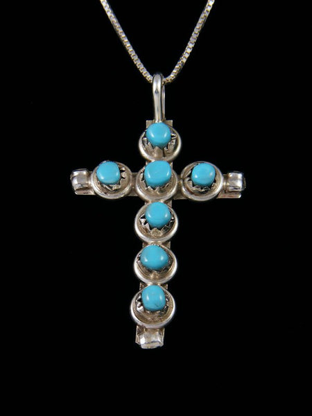 Sterling Silver Turquoise Zuni Cross Pendant