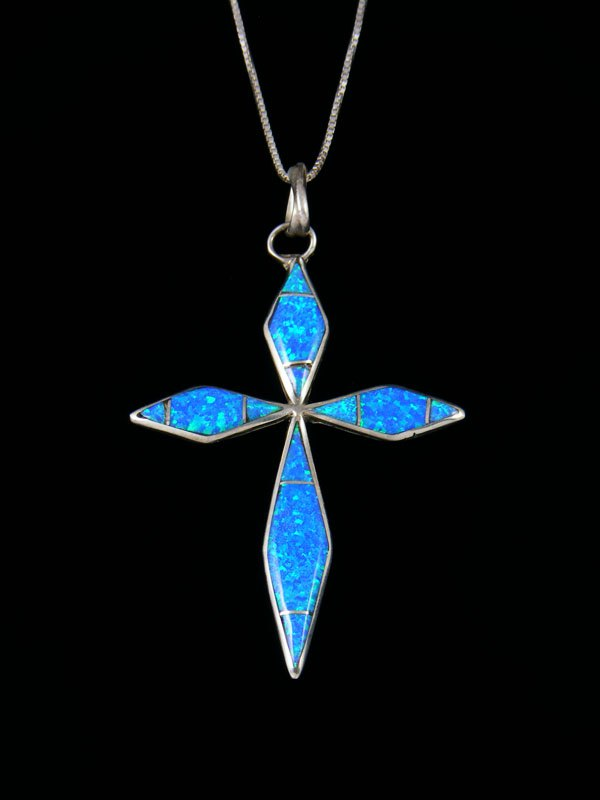 Sterling Silver Zuni Opalite Inlay Cross Pendant Necklace