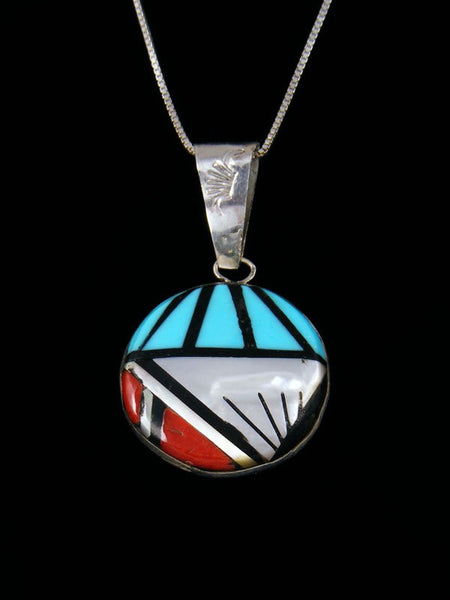 Native American Zuni Inlay Turquoise and Coral Pendant