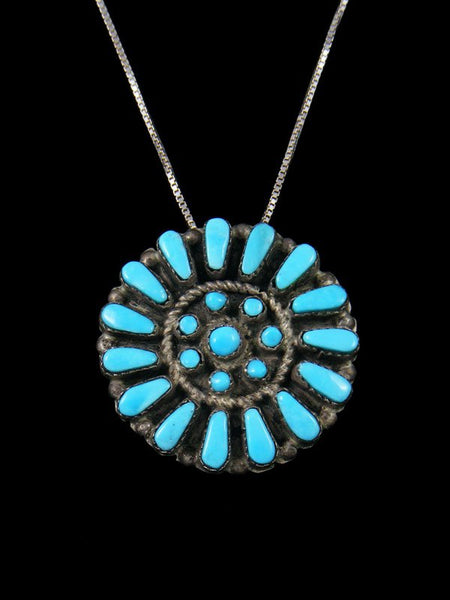 Turquoise Sterling Silver Zuni Pin/Pendant