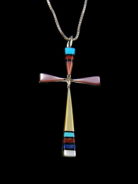 Sterling Silver Zuni Inlay Multi Stone Cross Pendant