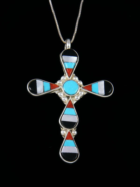 Sterling Silver Zuni Inlay Mother of Pearl Cross Pendant