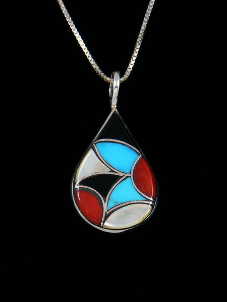 Native American Sterling Silver Zuni Inlay Fish Scale Pattern Pendant