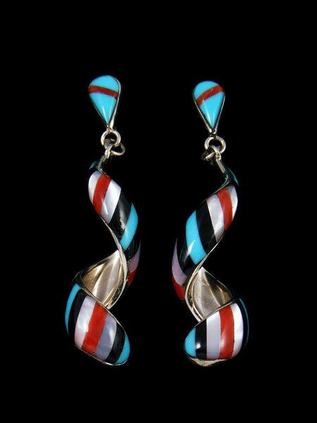 Zuni Inlay Turquoise Spiral Post Earrings