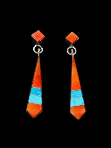 Native American Spiny Oyster and Turquoise Inlay Earrings