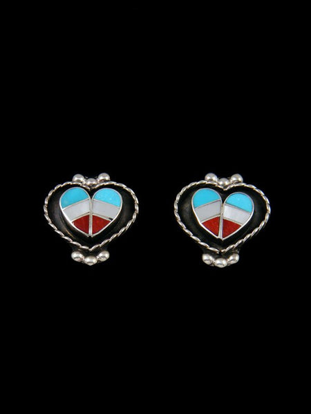 Sterling Silver Shadowbox Inlay Zuni Heart Earrings